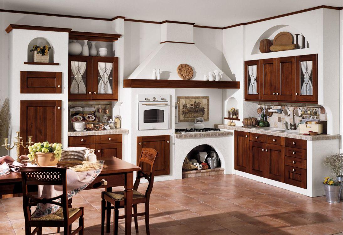 cucina in muratura con angolo cotture noce